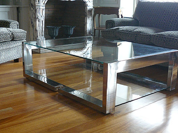 Table fer contemporaine for Table basse tout en verre
